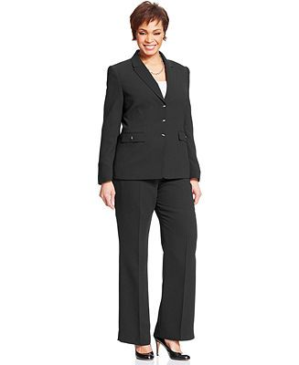 ef2d33648b5 AGB Plus Size Black Stretch Suiting Three Button Jacket   Pleated A-Line  Skirt - Plus Size Sale   Clearance - Plus Sizes - Macy s