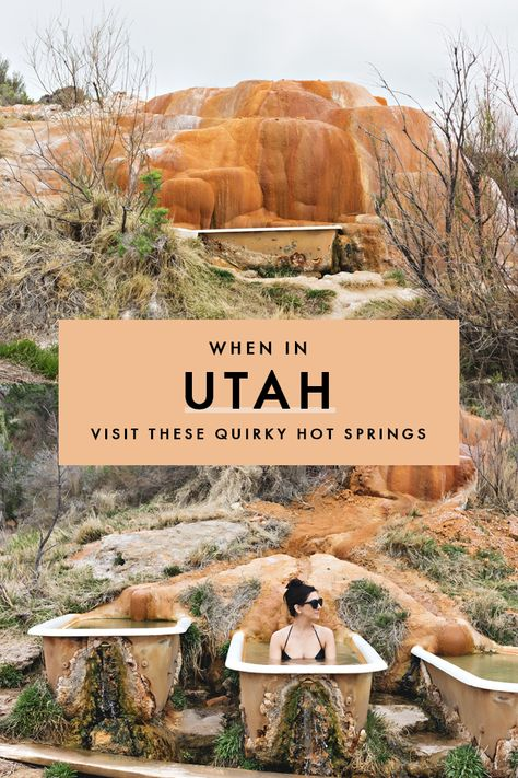 Utah Adventures: Mystic Hot Springs If you're on the lookout for a unique getaway in Utah, head to these hot springs where stunning nature meets vintage bathtubs and alternative vibes. Weekend Getaways For Couples, Romantic Weekend Getaways, Summer Getaway Outfits, Vacation Outfits, Oh The Places You'll Go, Places To Travel, Travel Destinations, Zermatt, Florida Keys