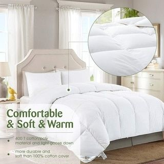 Alpha Home Goose Down Duvet Insert 750 Fill Power Cotton Poly