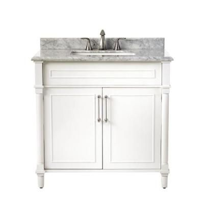 Home Decorators Collection Aberdeen 36 In W X 22 In D Single Bath Vanity In White With Carrara Marble Top With White Sink 8103600410 The Home Depot Marble Vanity Tops Modern Bathroom Vanity Vanity