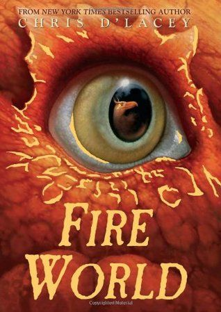 """""""Fire World"""" by Chris d'Lacey - After destroying a trace of dark fire, David, Zanna, and the Pennykettle dragons vanished. In a brand-new world, Co:per:nica, which runs parallel to that of Crescent Lane, firebirds roam the ancient librarium, a museum for books. But when 12-year-old David and Rosanna accidentally injure one of the firebirds, they are suddenly thrust into a remarkable adventure. (Book Six of The Last Dragon Chronicles)"""