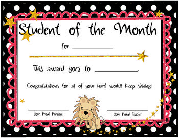 Student Of The Month Certificates By Nicole Swisher All Things Apple In 2nd Student Of The Month Student Months
