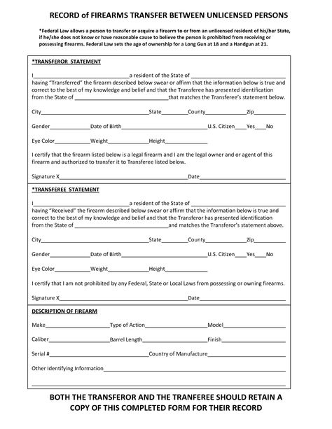 gun trust forms RECORD of FIREARMS TRANSFER BETWEEN Bear Arms - restraining order form