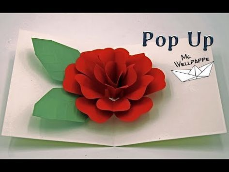 How To Make A Easy Pop Up Card Flowers Rose Paper Craft