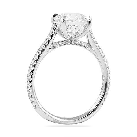 34b6b4785 Cathedral pave engagement ring design with diamond detailing along the  bridge and open profile \