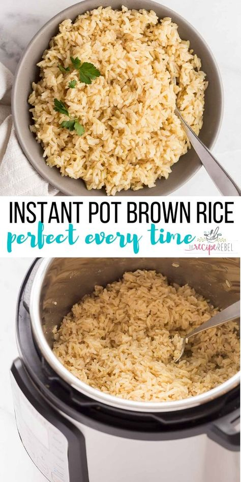 A tried and true recipe for PERFECT Instant Pot Brown Rice every time. Use long grain brown rice or brown basmati. Includes a variety of flavor options! Instant Brown Rice Recipe, Instant Rice, Recipe For Brown Rice, Healthy Rice Recipes, Whole Food Recipes, Cooking Recipes, Easy Brown Rice Recipes, Healthy Pressure Cooker Recipes, Pressure Cooking