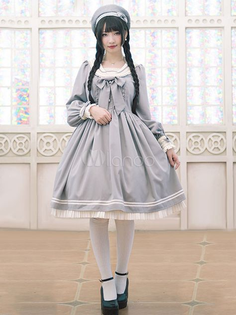 Lolitashow Sweet Lolita Dress OP Grey Lolita Dress Sailor Cotton Blend Pleated Flare Lolita Dress