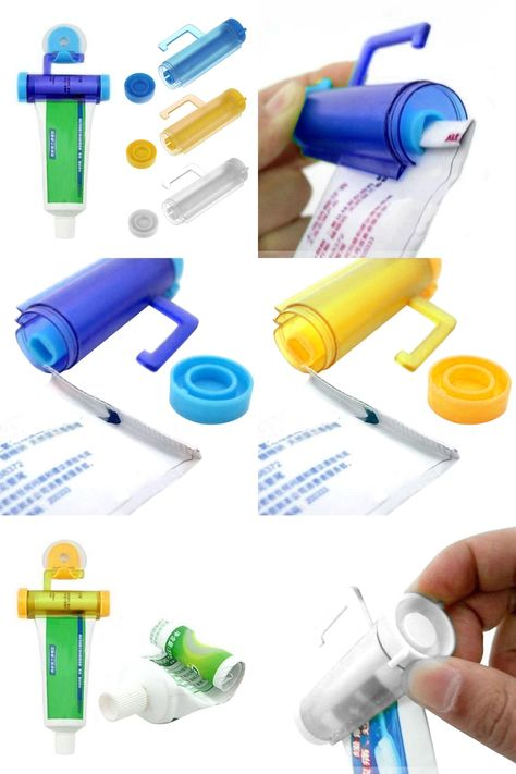 Easy Squeeze Out Toothpaste Dispenser Rolling Bathroom Holder Sucker Hanging