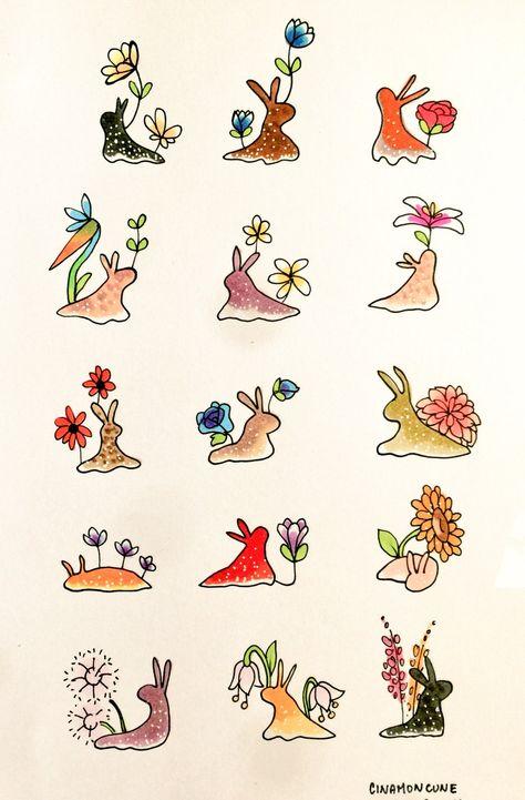 Some slug flower friends! Pretty Art, Cute Art, Hippie Art, Cute Drawings, Indie Drawings, Kawaii Drawings, Doodle Drawings, Doodle Art, Aesthetic Art