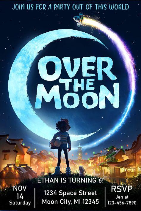 Over the Moon, Birthday Invitation, Personalized, Digital, Evite, invite, Party
