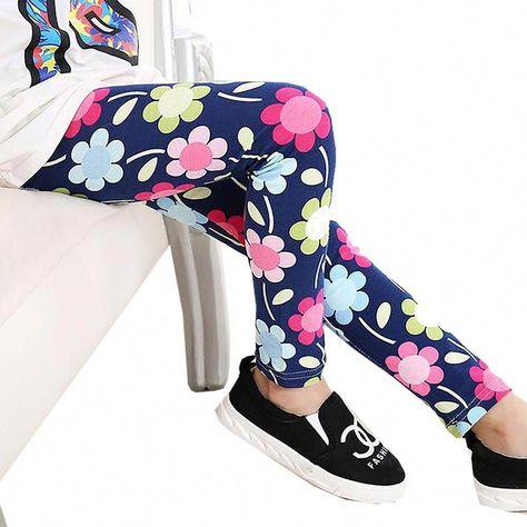 fb3164cd1ee6a Baby Kids Childrens Printing Flower Toddler Classic Leggings Girls Pants  Girls Legging 2-14 Y baby Girl Leggings Color H 24M #BoyFashionInstagram