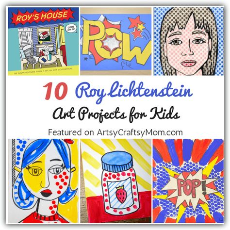 Check out these amazing Roy Lichtenstein Art Projects for Kids to learn about the artist who transformed comic strips into high end art! for kids 10 Roy Lichtenstein Art Projects for Kids Pop Art For Kids, Art Lessons For Kids, Art Lessons Elementary, Roy Lichtenstein Pop Art, School Art Projects, Projects For Kids, Art Doodle, 3rd Grade Art, Art Curriculum
