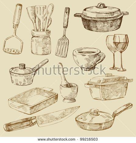 Стоковая векторная графика «Seamless Pattern Hand Drawn Kitchen» (без лицензионных платежей), 99216503