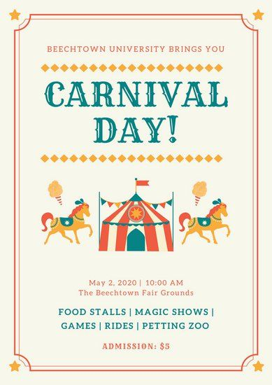 Colorful Bordered Carnival Poster Carnival Posters Event Poster Template Event Poster
