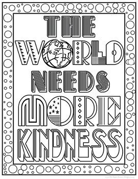 Kindness Coloring Pages Quote Coloring Pages Family Coloring