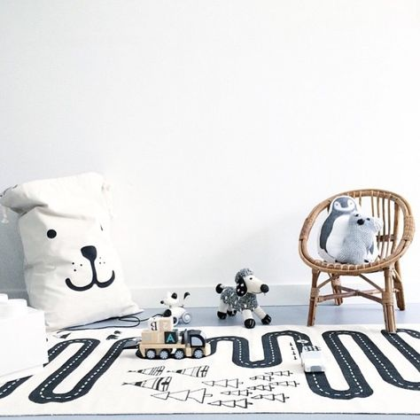 Black, white and fun decor for a boy or girl