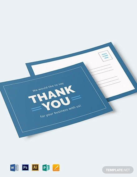 Business Thank You Postcard Template Word Psd Apple Pages Publisher Illustrator Business Thank You Cards Thank You Postcards Business Thank You