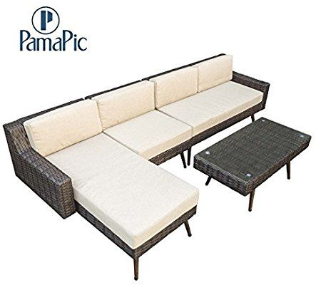 Amazon Com Pamapic Outdoor 4 Pieces Patio Furniture Sets Chaise