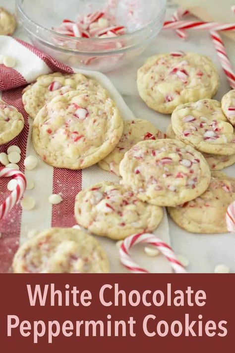 White Chocolate Peppermint Cookies White Chocolate Peppermint Cookies From Preppy Kitchen, one of the most Christmassy cookies possible! White chocolate chips and flakes of candy cane held together by the tenderest cookie possible. Pepermint Cookies, Chocolate Peppermint Cookies, White Chocolate Chip Cookies, Holiday Cookies, Holiday Baking, Christmas Desserts, Christmas Baking, Christmas Candy, Holiday Treats