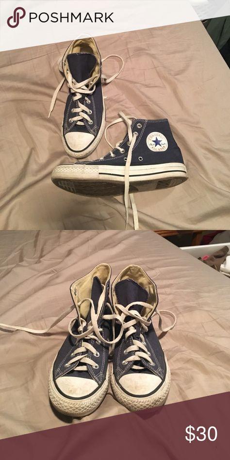 Navy Blue high top Converse Lightly