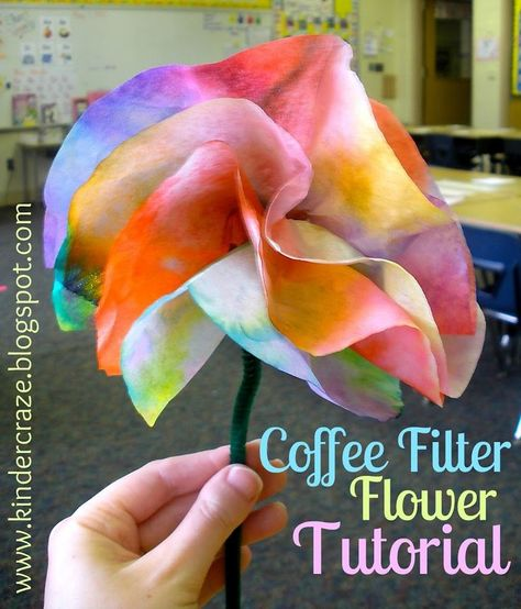 Coffee Filter Flowers Tutorial - - Coffee Filter Flowers Tutorial Preschool Make these beautiful coffee filter flowers with your kindergarten students! These are perfect for Mother's Day, May Crowning and other spring activities in your school! Coffee Filter Art, Coffee Filter Crafts, Coffee Filter Flowers, Preschool Crafts, Fun Crafts, Crafts For Kids, Flower Craft Preschool, Crafts Cheap, Spring Activities