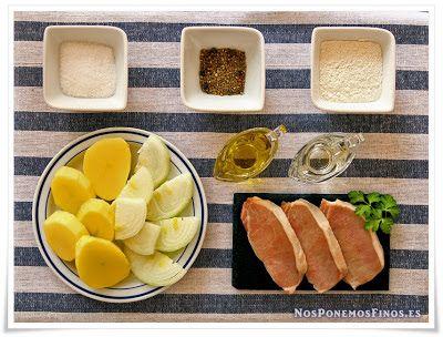 Filetes De Lomo De Cerdo Con Patatas En Salsa De Cebolla Y Vino Blanco Filete De Lomo De Cerdo Cerdo Con Patatas Lomo De Cerdo