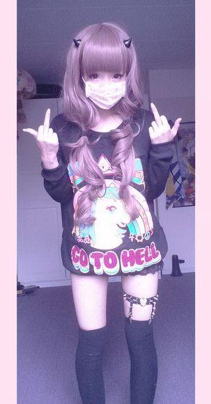 japanese kawaii japan unicorn go to hell kawaii sweater asain