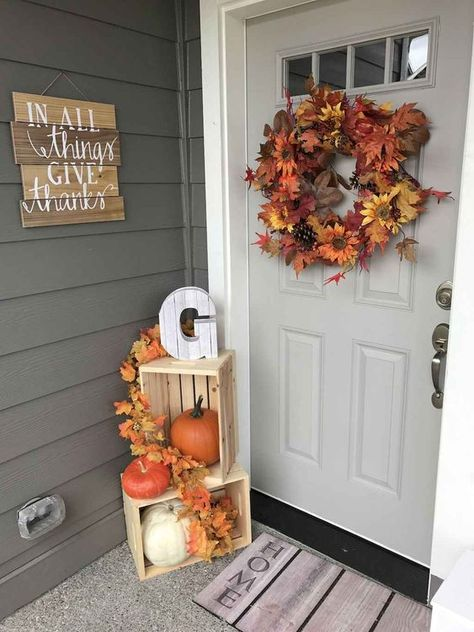 These cheap and easy fall porch ideas will give your front porch a cozy and inviting makeover. From diy fall porch signs to fall porch planters there are plenty of ideas for inspiration for how to decorate your porch with . Fall Home Decor, Autumn Home, Front Porch Fall Decor, Fall Porch Decorations, Seasonal Decor, Diy Front Porch Ideas, Fall Front Porches, Fal Decor, Fall Yard Decor