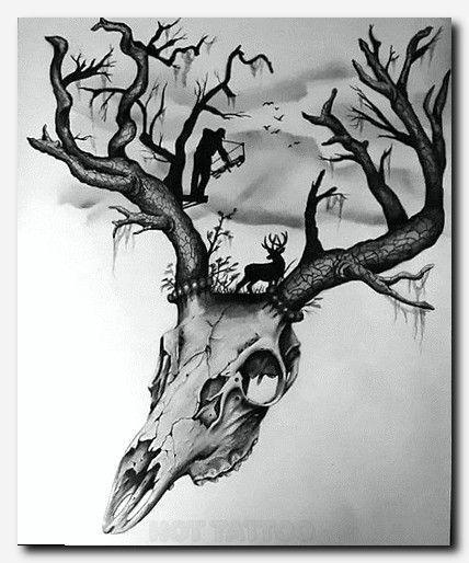 Hirschjagd Fur Manner Tattoo Design Deer Design Hunting Men Tattoo Hirschjagd Fur Manner Tattoo In 2020 Deer Skull Tattoos Deer Hunting Tattoos Skull Tattoos
