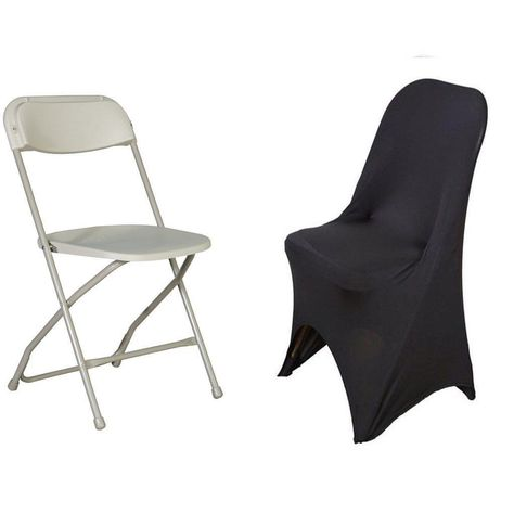 White Spandex Stretch Folding Chair Cover now available for