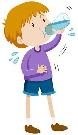 Nino De Agua Potable De La Botella Ilustracion Agua Potable Ninos De Agua Carteles Para Ninos