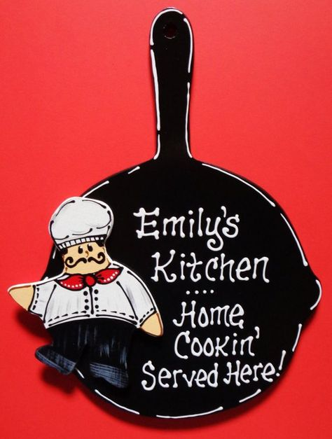 U CHOOSE NAME Personalized Fat Chef SKILLET Kitchen Sign Bistro Style Cucina Wall Plaque Wood Wooden  Door Hanger