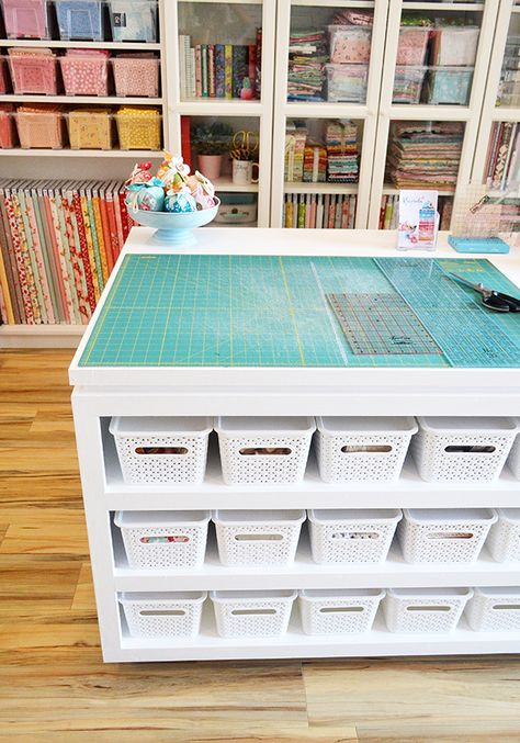 My incredibly talented husband built me a fantabulous cutting table and I cannot be happier with it! It's based on these free DIY plans. Sewing Room Design, Craft Room Design, Craft Room Decor, Sewing Spaces, My Sewing Room, Craft Room Storage, Ikea Sewing Rooms, Small Sewing Rooms, Craft Room Tables