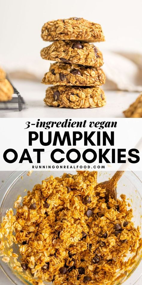 While very tasty and satisfying these healthy pumpkin oat cookies are more of a simple nutritious snack than decadent dessert. Add the chocolate chips for a sweeter yummier treat Pumpkin Oatmeal Cookies, Oat Cookies, Healthy Cookies, Healthy Sweets, Healthy Snacks, Healthy Pumpkin Desserts, Healthy Pumpkin Recipes, Sugar Free Vegan Desserts, Low Calorie Cookies