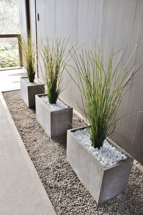 Modern decorative grass in concrete planters in mid-century modern breezeway A beautiful front yard is the calling card of your house. With our ideas, your front garden will also become the inviting flagship of your home, where visitors like to pause fo