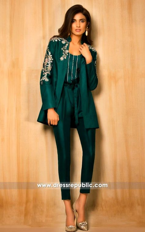 Stylish Pakistani Party Wear Dresses 2017 In Jacket Style In Green Color