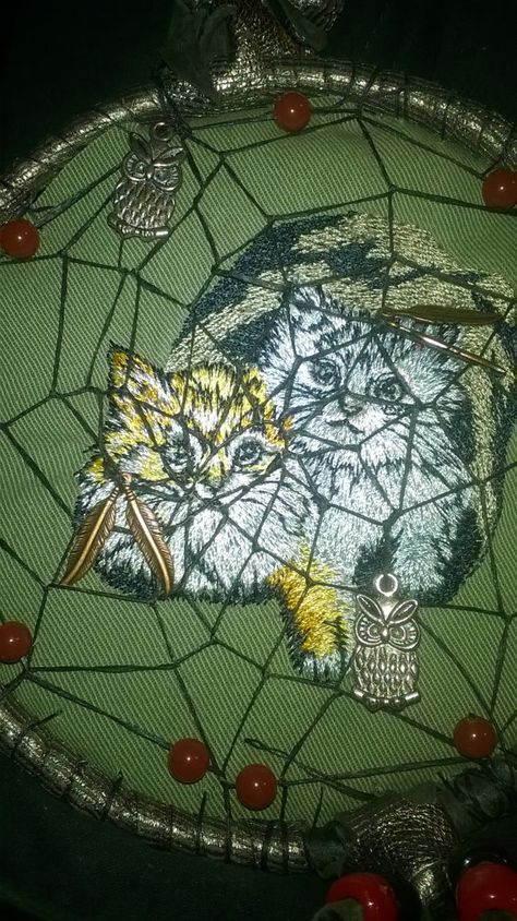 Embroidered Cats or Dogs Dream Catcher handmade by DreamCatcherMan