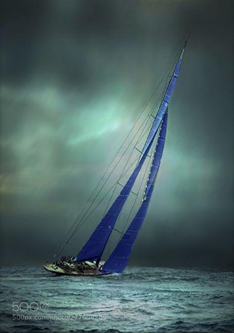 Racing Yacht by RonaldCoulter Boat Art, Boat Painting, Sail Away, Set Sail, Tall Ships, Sailing Ships, Sailing Yachts, Sailing Boat, Cool Photos