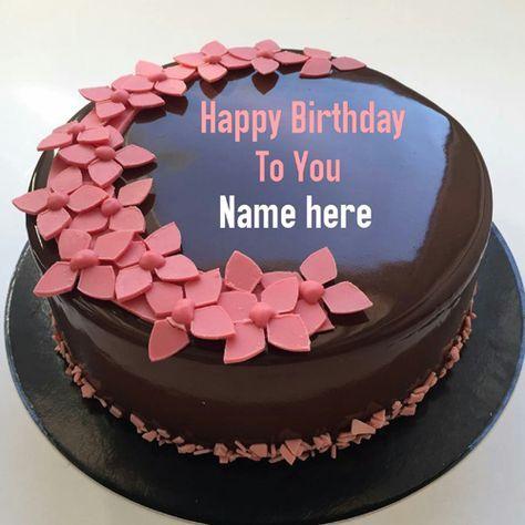 Write name on chocolate birthday cake,Flower decorated chocolate