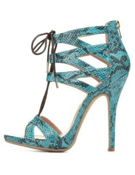 b1853845a7d Caged Python Print Lace-Up Heels by Charlotte Russe