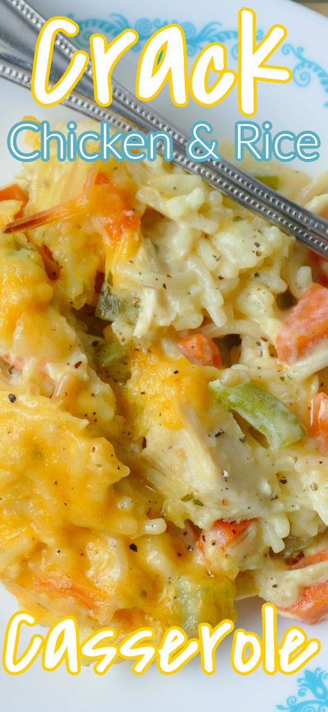 Dinner doesn't get much better than this cheesy, delicious comfort food casserole! It's packed with carrots, green pepper and onion and uses simple pantry and fridge ingredients like leftover rotisserie chicken breast, rice a roni and cream soup! So quick, easy and budget friendly!