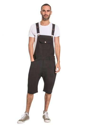 428f6bed USKEES Mens Dungaree Shorts - Black Bib-shorts. #vacation #holiday  #festival fashion for men.