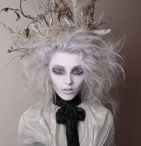Tim Burton inspired makeup - hollow eyes and white eyelashes - by White Rabbit Make Up Artist