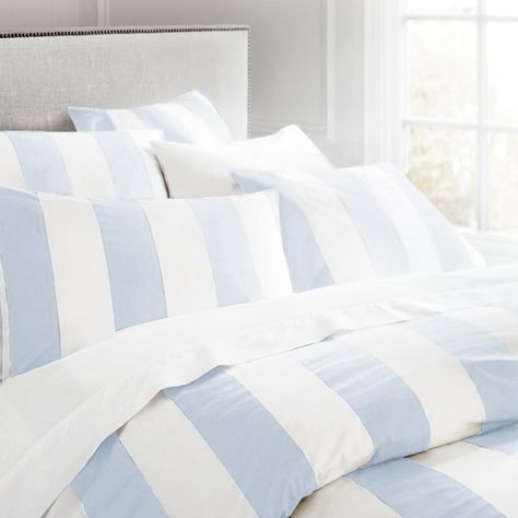 Gorgeous Wide Stripe Bed Linen In Sky Blue And White Blue And