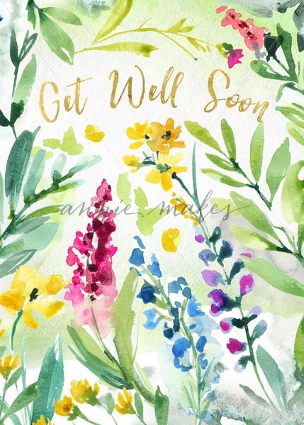 Get Well Soon Sympathy Card With Watercolor Wreath Feel Better
