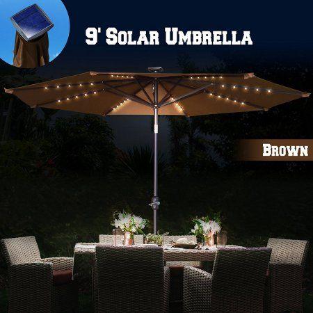 Strong Camel 9ft Solar Light Patio Umbrella Tilt Aluminum Sunshade Outdoor  Garden Market Balcony (Brown