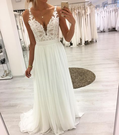 White v neck lace chiffon long prom dress, white lace evening dress, customized . White v neck lace chiffon long prom dress, white lace evening dress, customized service and Rush order are available Wedding Evening Gown, Lace Beach Wedding Dress, Lace Evening Dresses, Dream Wedding Dresses, Sexy Dresses, Evening Gowns, Wedding Gowns, Wedding Lace, Lace Gowns
