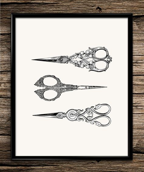 Vintage scissors antique scissors hair dresser hair scissors hair clippers barber salon spa hair salon decor home decor salon poster vintage