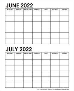 June July Calendar 2022.2 Monthly Blank Calendar June July 2022 School Holiday Calendar Federal Holiday Calendar Blank Calendar