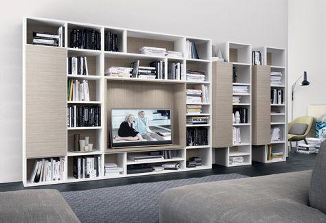 PRESOTTO | Pari U0026 Dispari Bookcase With A Matt Bianco Candido Lacquered  Structure And Cooper Stone Sliding Doors.__ Libreriau2026